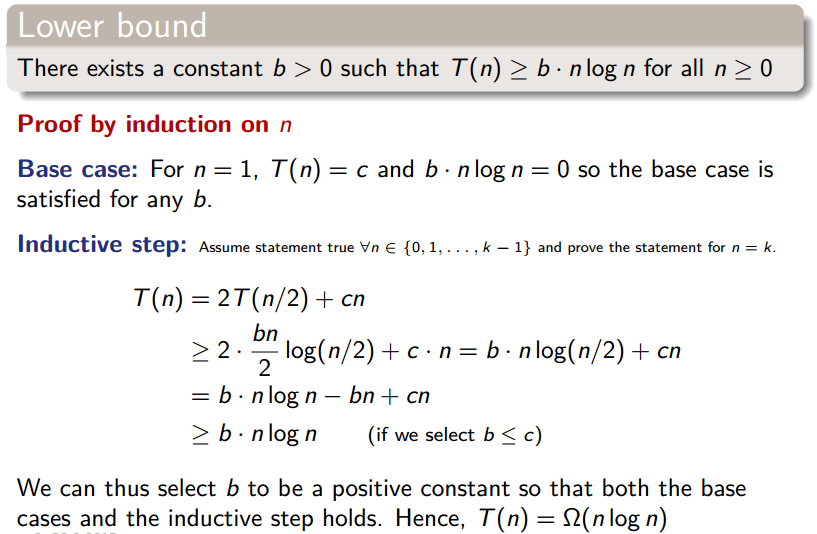 Proof by induction of the lower bound