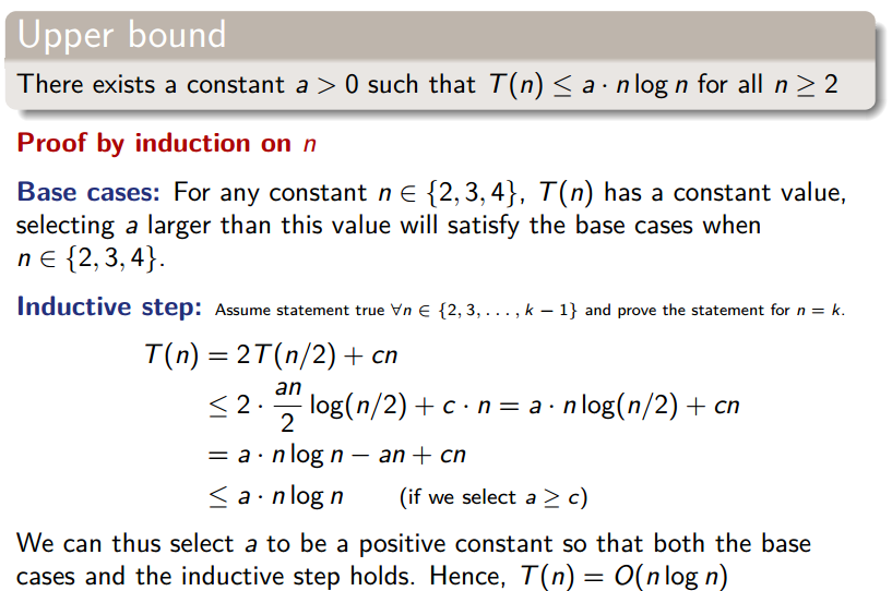 Proof by induction of the upper bound